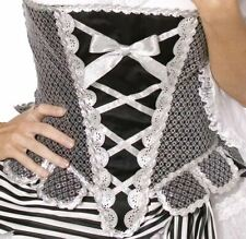 BLACK & SILVER SPARKLE CORSET Smiffys Fancy Dress Costume Pirate Sexy Adult