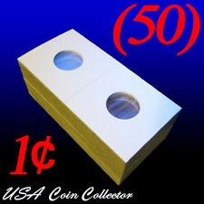 (50) Penny Size 2x2 Mylar Cardboard Coin Flips for Storage | 1 Cent Paper Holder