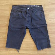 H&M Mens Super Skinny Jean Denim Shorts Size 36W Button Fly Color Dark Gray