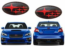 Front & Rear Gloss Black & Red Emblems For 2011+ Subaru Wrx Sti New Free Ship