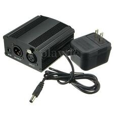 48V Phantom Power Supply with Adapter for Condenser Microphone US Plug Black