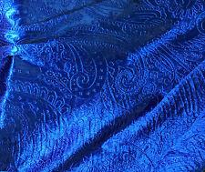 Royal Blue Paisley - EMBOSSED Velvet Fabric - 1/4 yd remnant