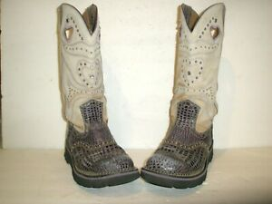 """WOMENS ARIAT STUDDED 13"""" LEATHER WESTERN COWBOY BOOTS SHOES  SIZE 8"""