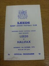 05/10/1974 programma Rugby League: Leeds V Halifax (angolo piegato, MACCHIATI, Tè
