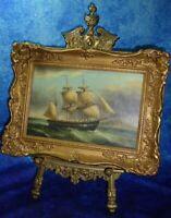 JAMES HARDY American War of Independence Oil on Board - Fine Art Maritime Scene