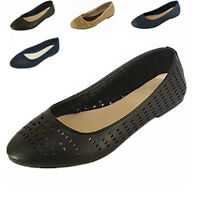 New Women Ballet Flat Shoes Casual Comfort Slip On Perforated Loafers Shoes