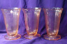 3 PINK DEPRESSION GLASS PARFAIT GLASSES Maker & Pattern Unknown