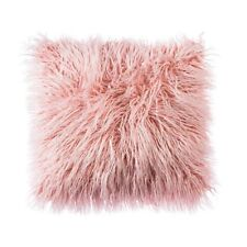PINK FAUX MONGOLIAN FUR CUSHION COVER WITH FAUX SUEDE BACK  45X45cms