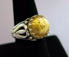 Sterling Art Nouveau Ring with a Gold Foil Plastic Ball 9.4g Size 8 [1590]