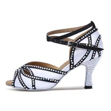 Women's Satin Rhinestones Latin Dance Shoes Sandal Salsa Ballroom Dancing Shoes