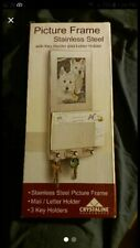 crystaline housewares stainless steel picture frame w key holder & letter holder