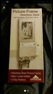 crystaline housewares stainless steel picture frame w key holder & letter holder
