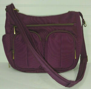 TRAVELON Organizer Crossbody Shoulder Satchel Bag Purse RFID Shield plum purple