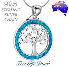 3792ba8b36e6 Árbol de la vida Azul Cristal Colgante de plata esterlina 925 Cadena Collar  Regalo para Mujer