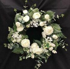 "Ranunculus Flower Vine Wreath~Cream, Green~Mix Greenery~22""~Silk/Artificial"