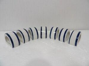 Blue and White Porcelain Napkin Ring Set of 7 dinner party