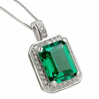 "Newshe Pendant 18"" Chain Necklace 3Ct 925 Sterling Silver Green Emerald Sapphire"