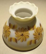 Antique Pie Crust Milk Glass Light Table Lamp Shade Flowers Yellow VTG