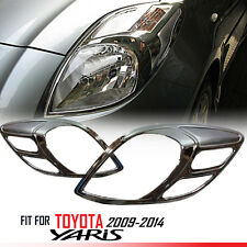 FIT TOYOTA YARIS 2009-2014 CHROME FRONT HEAD LIGHT LAMP COVER TRIM LH+RH