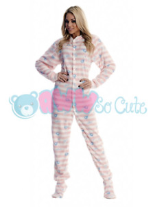 Pink Striped Elephants Unisex Adult-Sized Footed Snap Closure Pajamas