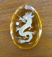 Engraved Dragon • Faceted Art Glass Amulet Pendant • Yellow • Gorgeous!