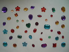 Mixed acrylic gems jewels gemstomes mixed shapes colours 25g approx 35 - 40 gems
