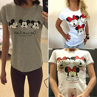 Summer Womens Mickey Minnie Mouse Short Sleeve T-Shirt Top Loose Casual Tee Tops