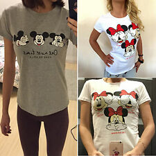 Womens Mickey Minnie Mouse Short Sleeve T-Shirt Casual Slim Fit Tee Tops Blouse