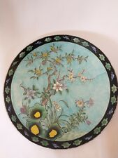 Large 14 Inch Antique Japanese Terquoise Enamel Charger Nippon