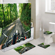Galloping Motorcycle Shower Curtain Toilet Cover Rug Bath Mat Contour Rug