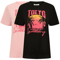 Tokyo Laundry Women's Palma Tropical Palm Print Cotton Crew Neck T-Shirt Top New