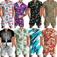 USSTOCK Men Romper Street Casual Cargo Pants Jumpsuit Overall T-Shirt Shorts Set