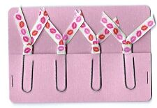 Set of 4 Handmade Decorative Paper Clip Planner Book Marks - Pink Red Green LIPS