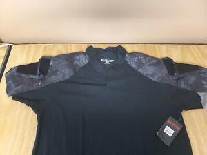 Kryptek Tactical Short Sleeve Mesh Gusset Rugby Shirt, Color: Black/Typhon XXL