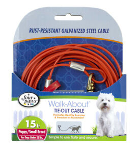 Four Paws Puppy Dog Tie Out Cable Red15 ft       Free Shipping