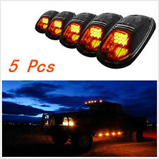 5 Pcs Smoked Lens Amber LED Cab Roof Top Marker Running Lights+Wiring Kit