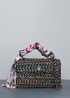 Kurt Geiger  Kensington Bag Black & Multicolour Tweed Detachable Scarf Brand New