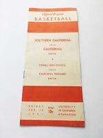Authentic Rare Vintage 1951 USC Berkley Official Basketball Program Score Card