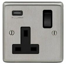 BRUSHED STAINLESS STEEL, SINGLE SOCKET OUTLET WITH SINGLE USB SOCKET, BLACK TRIM