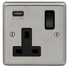 bordure noire Acier inoxydable poli sortie socket unique avec prise USB unique