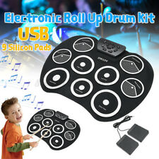 Foldable USB Midi Roll-up Electronic Drum Pad Kit w/sticks and Foot Pedal  9 pad