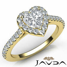 Natural Heart Diamond Shared Prong Engagement Ring GIA H VS1 18k Yellow Gold 1Ct