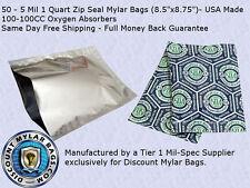 50 - 5 Mil 1 Quart Ziplock Mylar Bags 100 - 100cc Oxygen Absorbers Food Storage