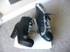 TIMELESS LADIES BLACK ANKLE FAUX FUR CLOG BOOTS SIZE 6 EUR 39 NEW