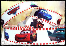 "CARS Ribbon. 1"" Grosgrain. Scrapbooking/Craft. Disney/Pixar. WHITE.Mater,McQueen"