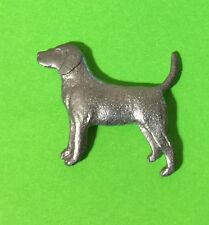pink stone eyes Basset Hound pin brooch new in package 3-D pewter color