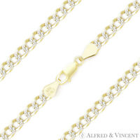 4.3mm Curb Cuban Link .925 Sterling Silver 14k Yellow Gold Italy Chain Bracelet