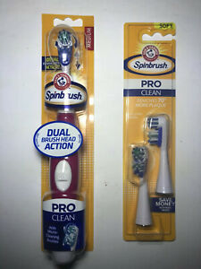 Arm & Hammer Spinbrush Pro Battery Powered Red Toothbrush Dual Brush + 2 Heads