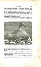 Mont Erebus Volcan Antarctique Antarctic Volcano GRAVURE ANTIQUE PRINT 1874