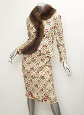 CHRISTIAN DIOR *VINTAGE* RARE Cream Floral SABLE FUR Jacket+Dress Outfit Suit XS